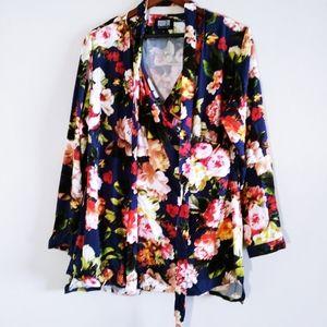 Women Flowered True Wrap Lone Sleeved Blouse XL